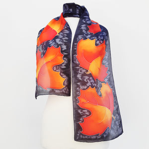 painted silk long scarf orange black color