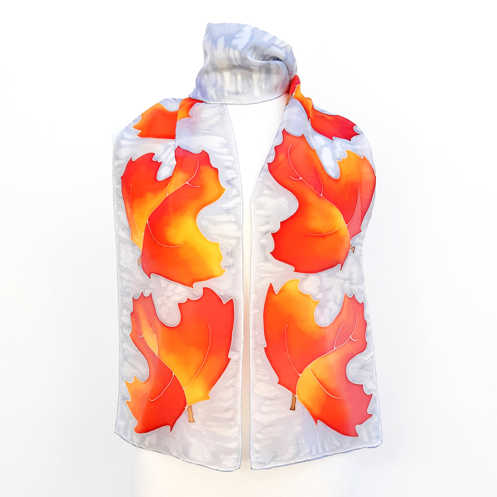 painted silk scarves fashion autumn Maple leaf art