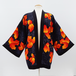 Load image into Gallery viewer, painted silk black kimono top