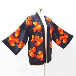 painted silk kimono made in Canada