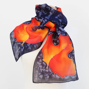 painted silk neck scarf  gold orange colors