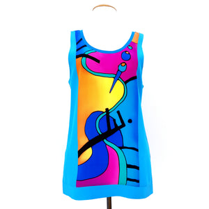 painted silk tank top for women