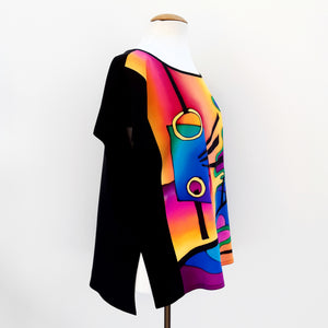 painted silk design top for women