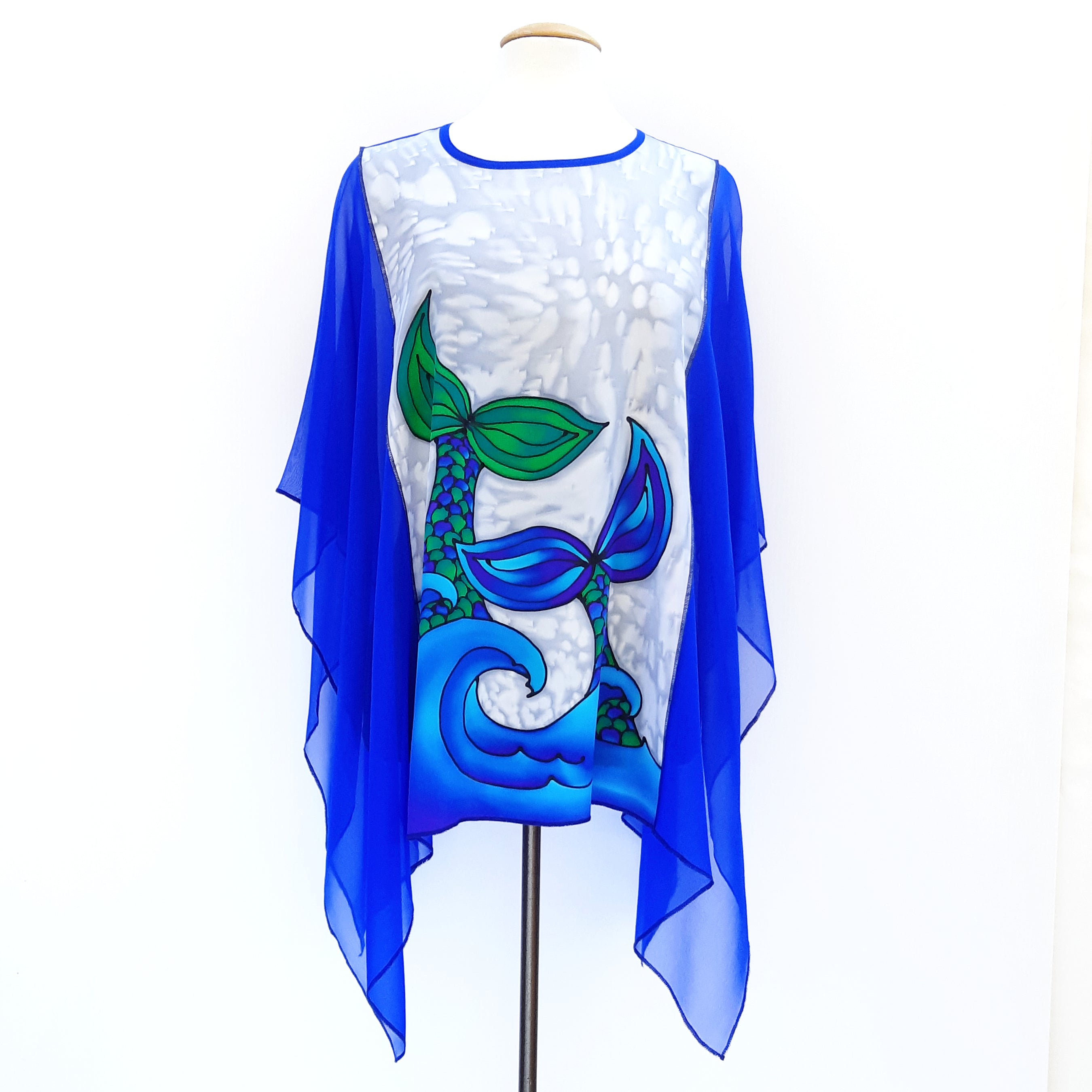 blouse pure silk hand painted blue mermaid tail