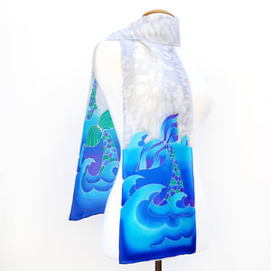 painted silk long scarf blue grey colors