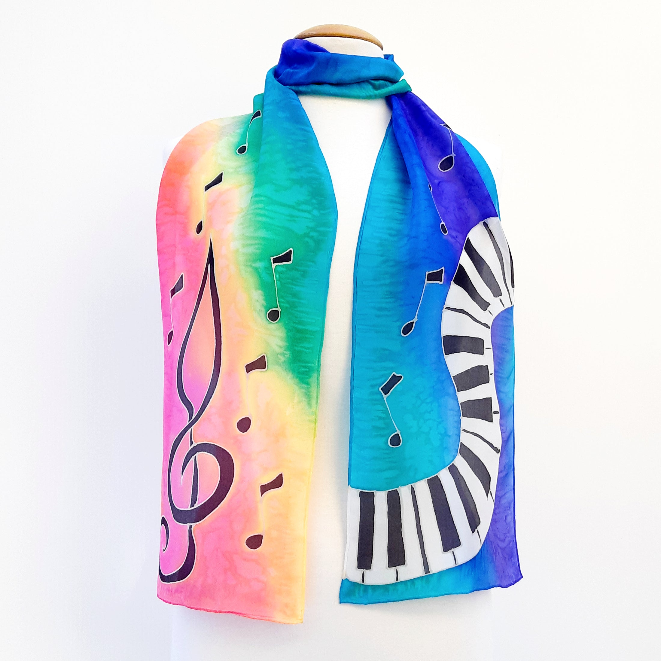 painted silk long scarf rainbow  pink scarves