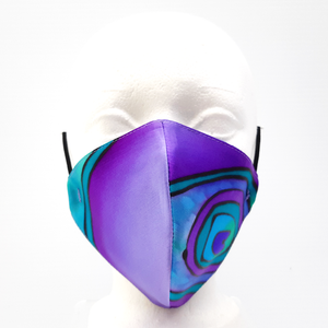 painted silk face mask purple