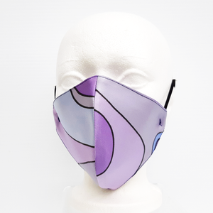 MYSTIC MAUVE MODERN ART Facemask Hand Painted Silk 2 Layer Smooth Fit
