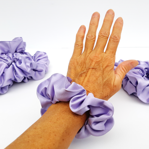 mauve silk satin hair scrunchie hair tie for pony tail and hair