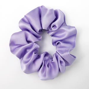 Mauve purple silk scrunchie hair accessory for yoga and sleeping