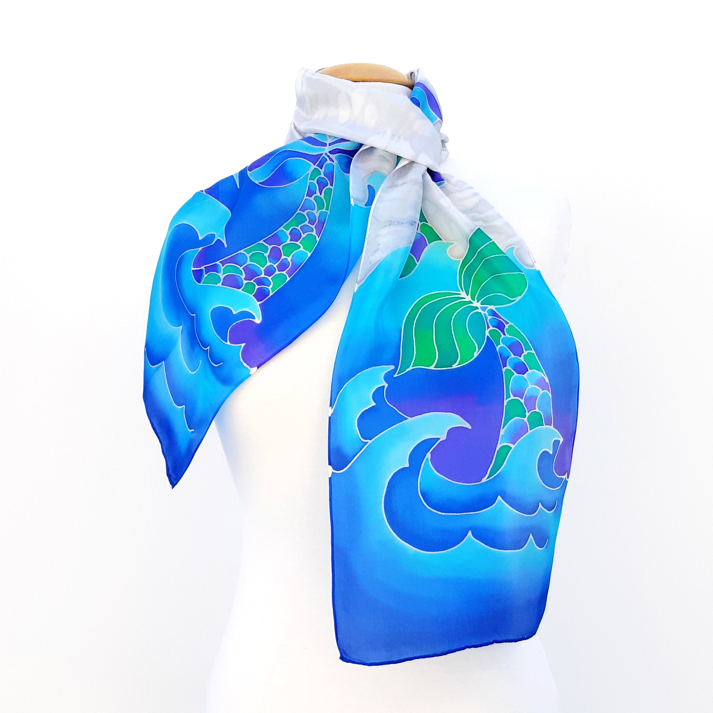painted silk  neck scarf for women