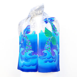 painted silk scarves fashion blue design scarves