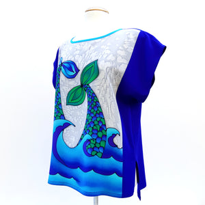 painted silk design top