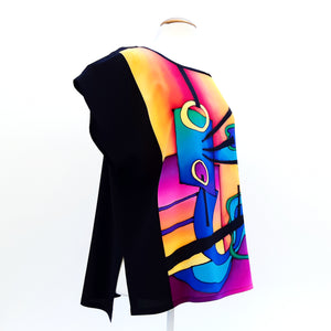 painted silk t-top for women