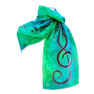 painted silk design silk scarf green