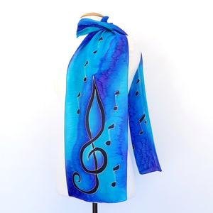 painted silk long scarf blue color