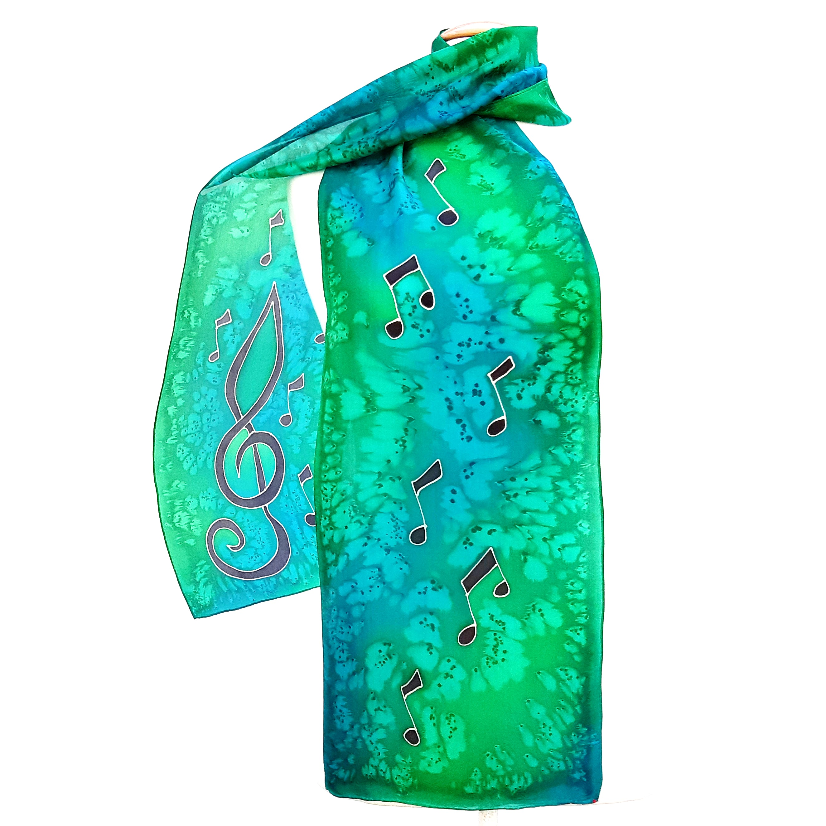 painted silk scarfs green scarves