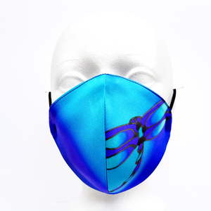 COSMOS BLUE DRAGONFLY FACEMASK Hand Painted Silk Smooth Fit 3 Layers