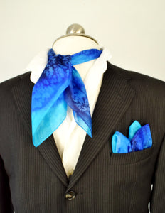 painted silk blue pocket square and neckerchief scarf men's fashion made by Lynne Kiel