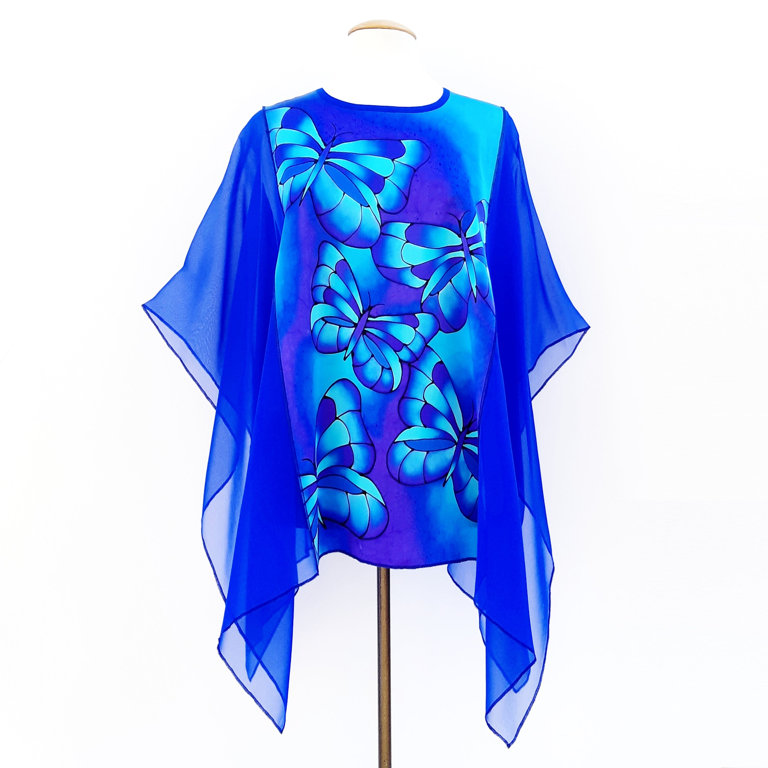 Poncho blouse royal blue butterflies
