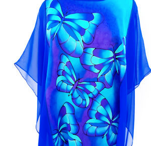 butterfly art silk blouse one size