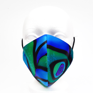 PARADISE GREEN PEACOCK FEATHER Facemask Hand Painted Silk Smooth Fit