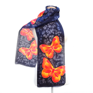 butterfly silk scarf orange and black colors hand made by Lynne Kiel