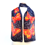 Load image into Gallery viewer, orange monarch butterflies hand painted silk scarf made by Lynne Kiel