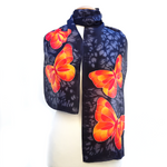 Load image into Gallery viewer, painted silk black scarf with orange monarch butterfly design hand made by Lynne Kiel
