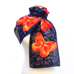 Load image into Gallery viewer, ladies design silk scarf with butterflies hand painted by Lynne Kiel