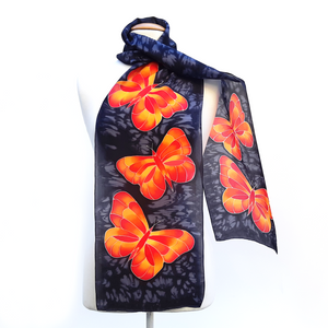 ladies silk scarf black and orange butterflies made in Canada