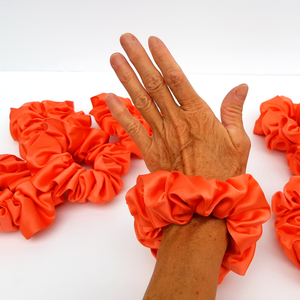 LOLIPOP ORANGE Jumbo Scrunchie Pure Silk Smooth Soft Shimmering Satin