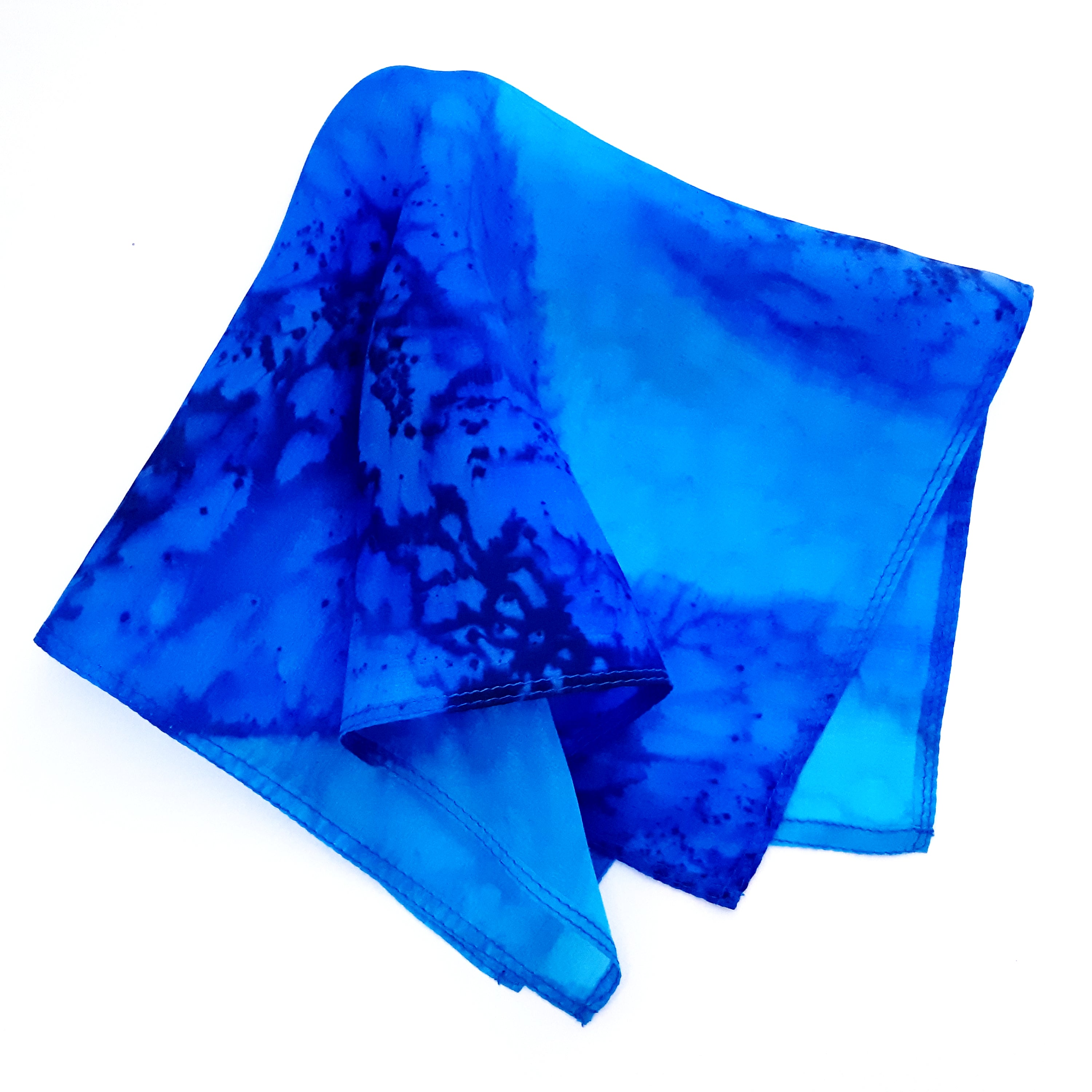pocket scarf painted silk blue
