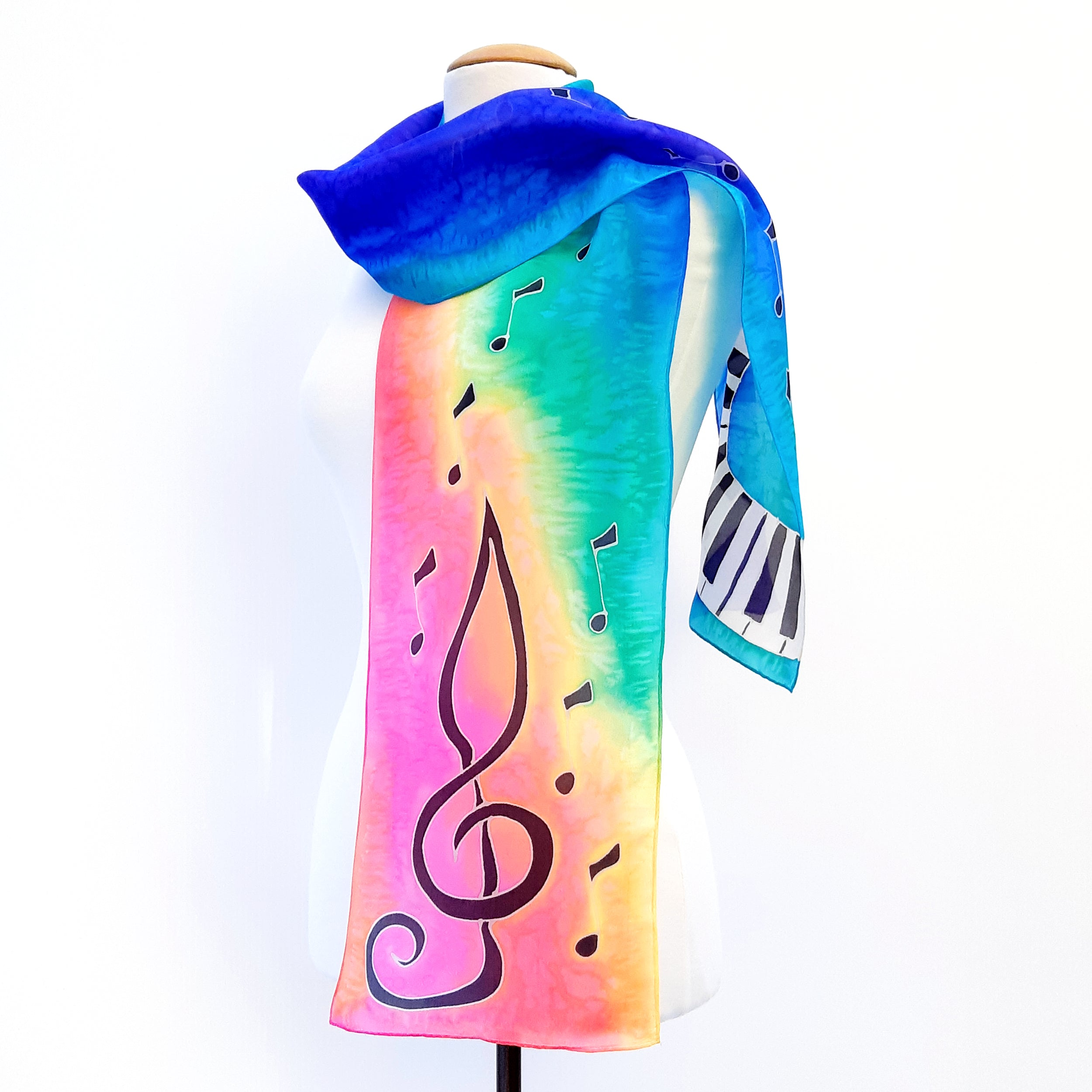 painted silk long scarf pink green blue color