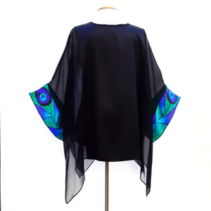 ladies long caftan top in black silk one size made by Lynne Kiel
