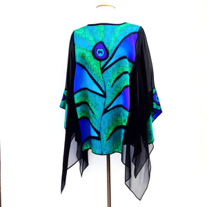 caftan top black silk one size cruise wear and wedding wear made in Canada