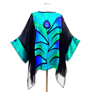 hand painted silk green peacock feather caftan top for women