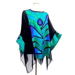 green peacock feather painted silk black caftan top one size made by Lynne Kiel