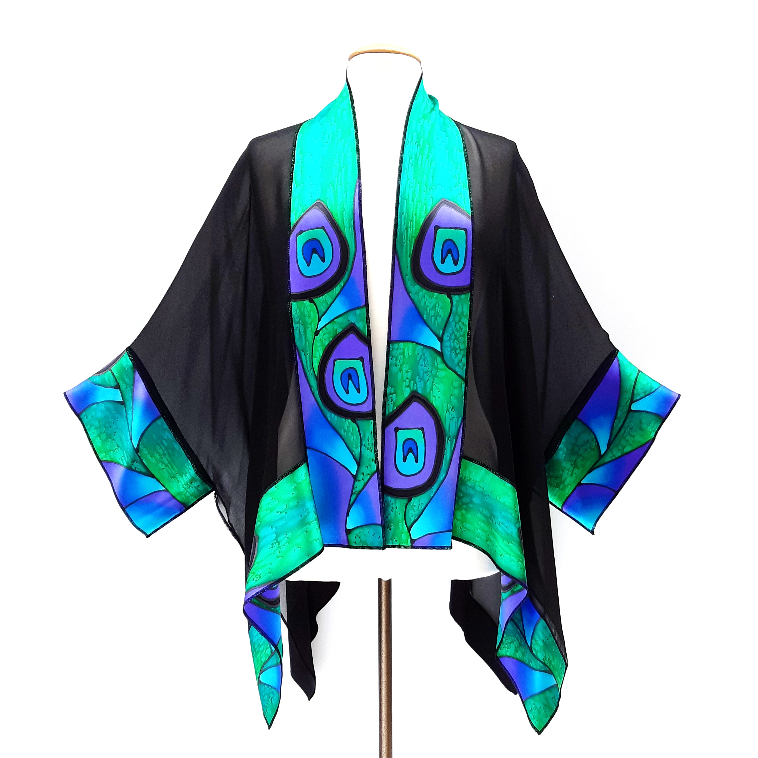 shawl hand painted silk purple green abstract peacock feather