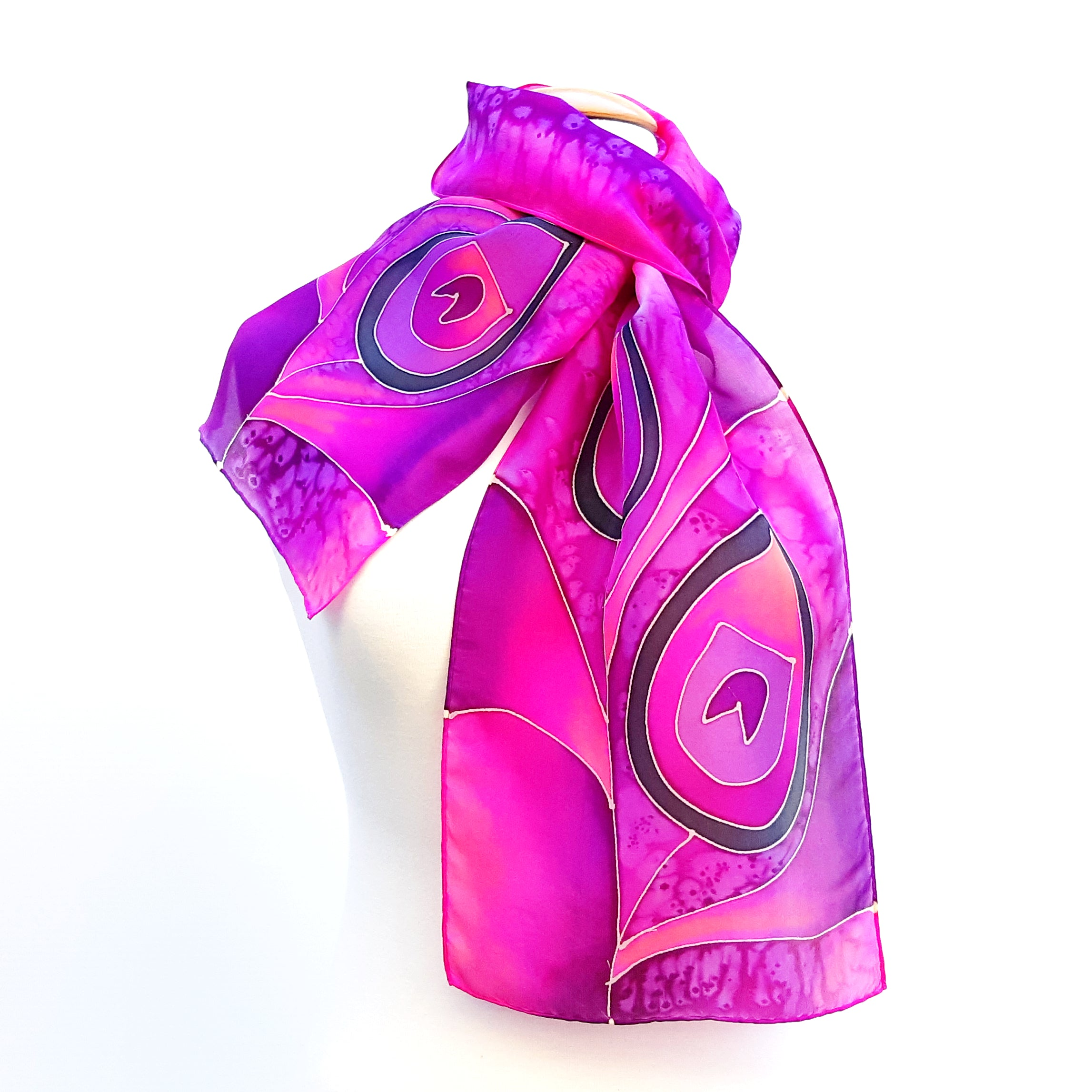 painted silk neck scarf fuchsia scarves