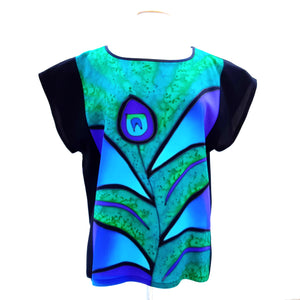 Painted silk ladies top green