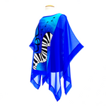 Load image into Gallery viewer, blue silk top ladies poncho painted silk treble clef keyboard design made by Lynne Kiel