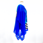 Load image into Gallery viewer, design silk clothing blue poncho top one size made in Canada by Lynne Kiel