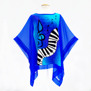 painted silk piano poncho top royal blue women's one size cruise wear wedding outfit made by Lynne Kiel