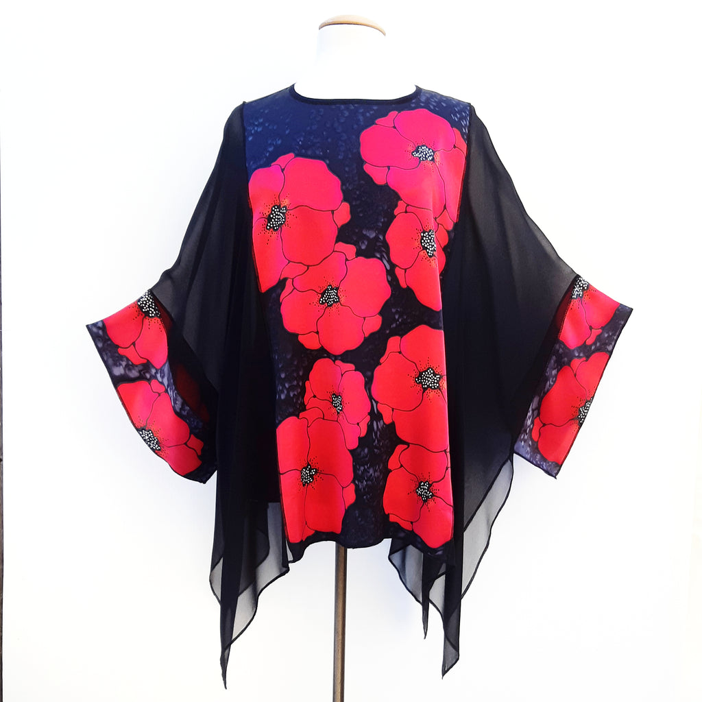 painted silk top one size ladies