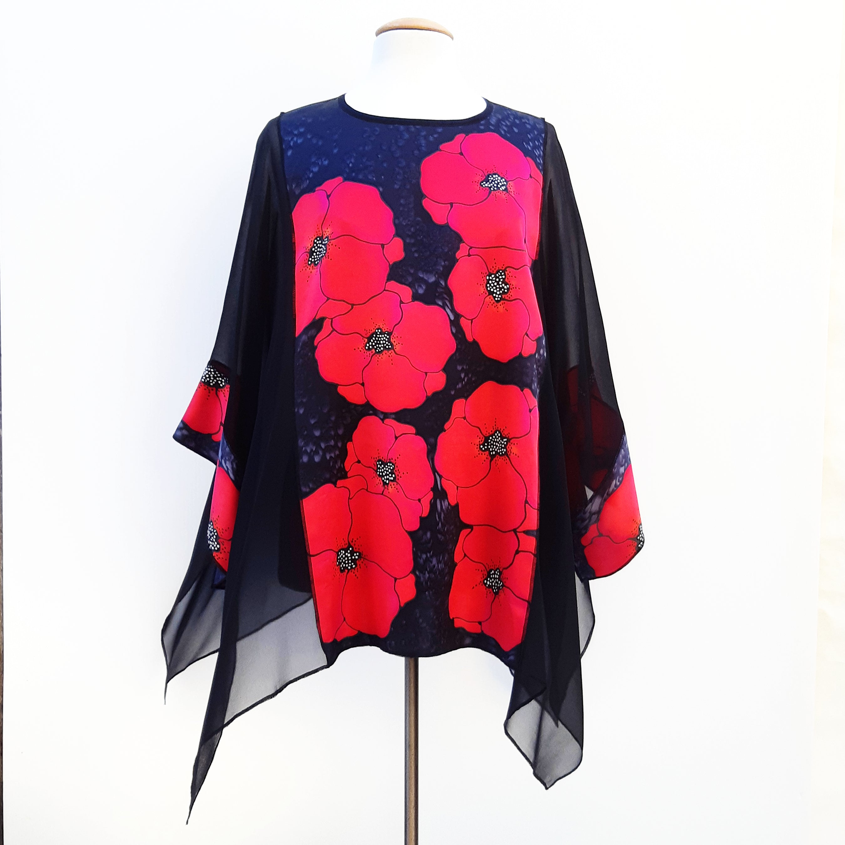 Kimono top Painted silk made in  Canada