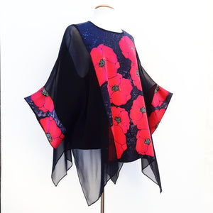 painted silk red poppy top