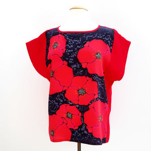 painted silk red ladies top