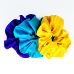 Load image into Gallery viewer, pure silk satin large size scrunchie set yellow purple blue colors handmade by Lynne Kiel
