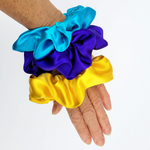 Load image into Gallery viewer, scrunchie set purple yellow turquoise pure silk large size hair accessory made in Canada by Lynne Kiel